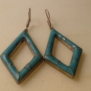 Silver tone and turquoise diamond shaped Earrings